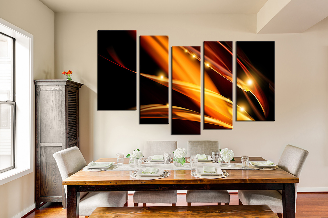 Dining Room Art 5 Piece Artwork Abstract Photo Canvas