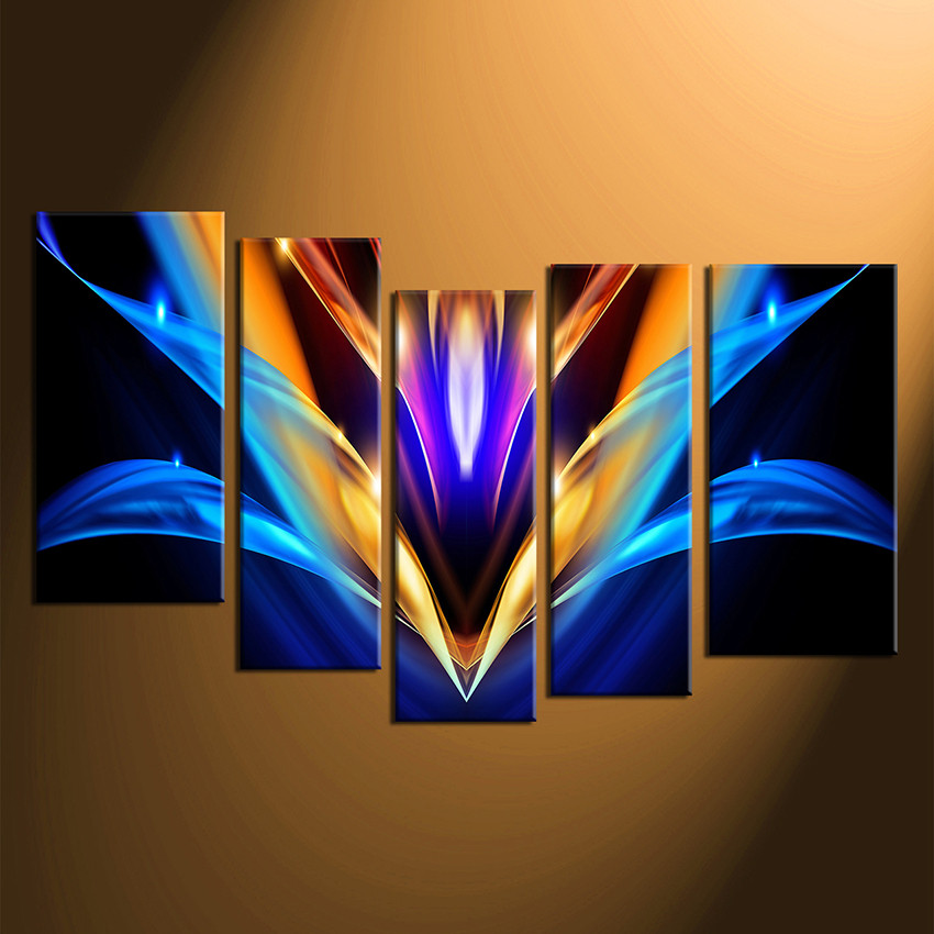 5 Piece Huge Canvas Print Colorful Abstract Multi Panel