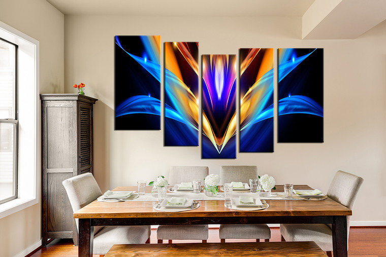5 Piece Huge Canvas Print, Colorful Abstract Multi Panel