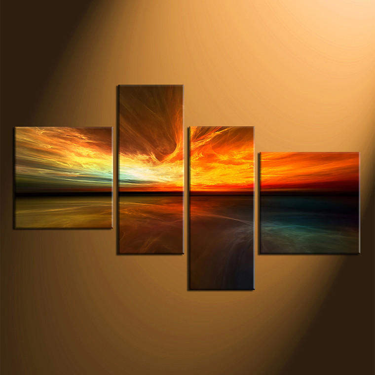 4 piece large pictures, home decor, ocean photo canvas, orange canvas print, sea ocean artwork
