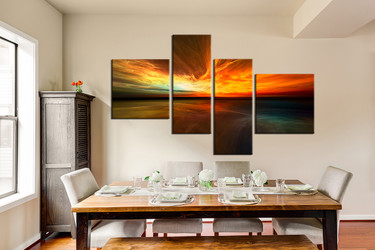 4 piece artwork, dining room multi panel art, ocean canvas print, orange art, ocean group canvas