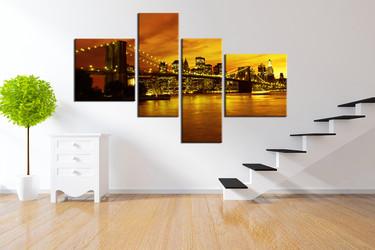 4 piece large pictures, new york photo canvas, cityscape huge canvas art, yellow art, bridge art