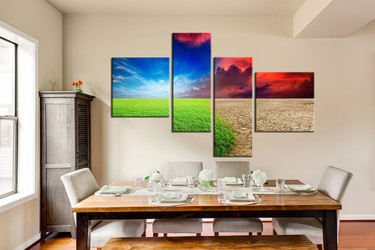 4 piece large canvas, dining room wall decor, scenery canvas print, colorful scenery artwork, scenery large pictures
