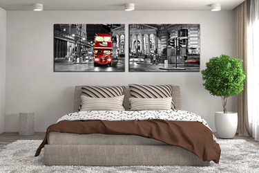 2 piece canvas wall art, bedroom large pictures, cityscape huge canvas art, panoramic art, gray canvas photography