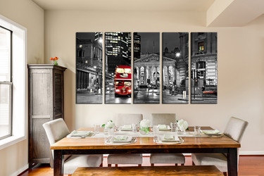 5 piece group canvas, dining room artwork, cityscape multi panel art, red bus canvas wall art, building art