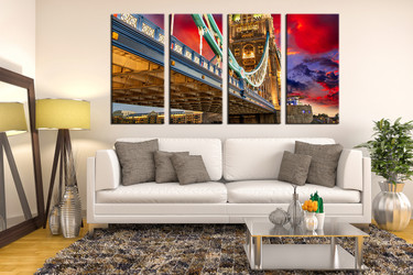 4 piece huge canvas art, living room canvas print, city art, bridge canvas photography, colorful wall decor