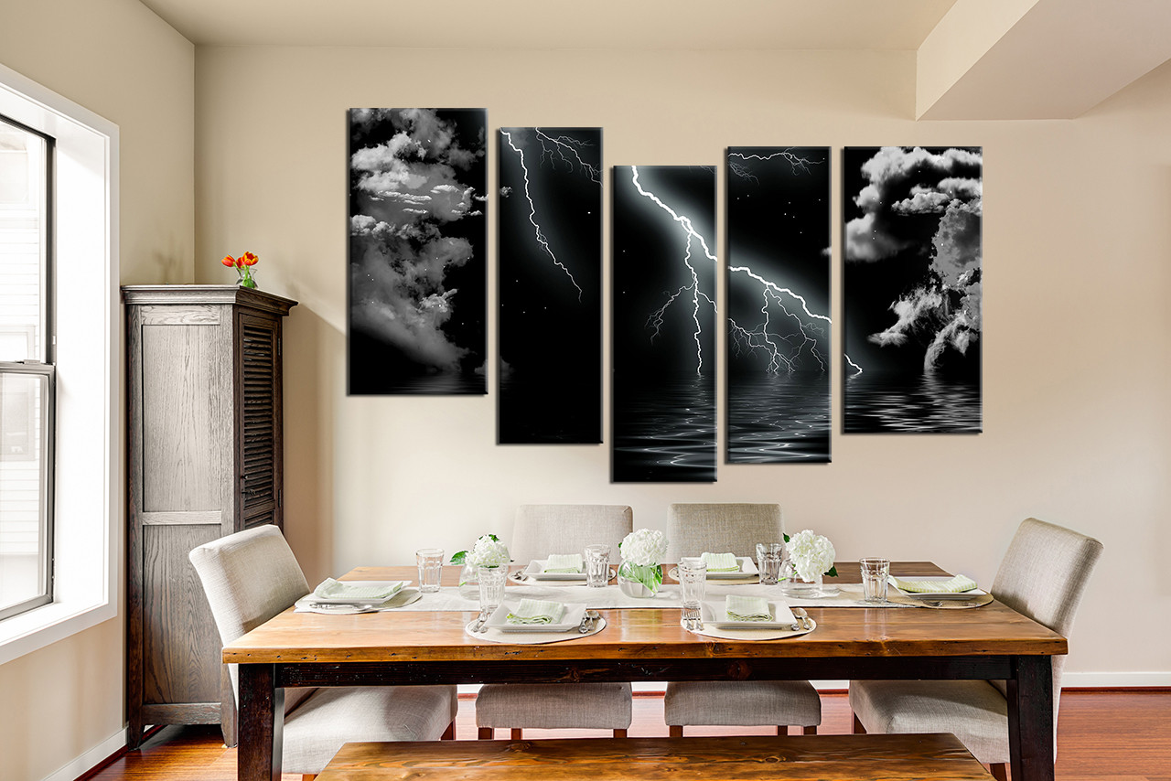 5 piece multi panel art dining room canvas photography black and white wall art