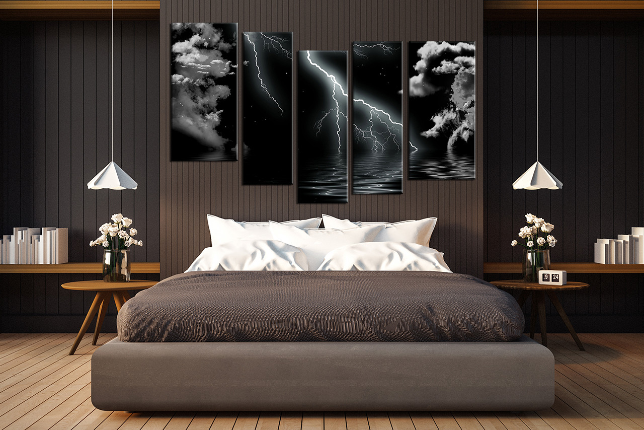 5 Piece Group Canvas, Black and White Wall Decor, Thunderstorm Huge Canvas  Print, Ocean Multi Panel Art, Sea Large Pictures
