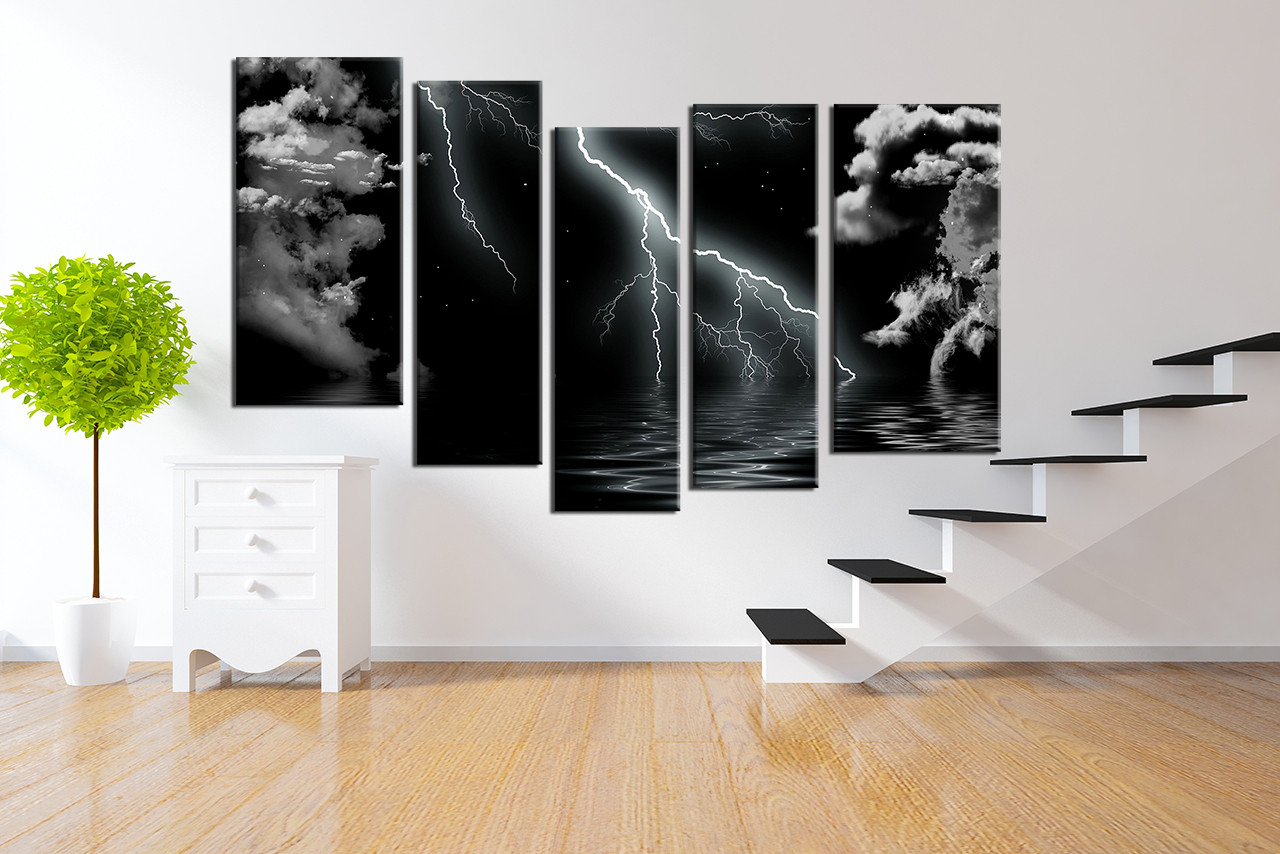 Living room wall art 5 piece artwork black and white multi panel art