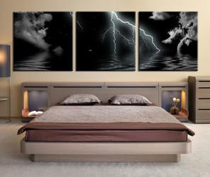 3 piece canvas wall art, bedroom ocean artwork, grey ocean pictures, ocean canvas print, ocean artwork
