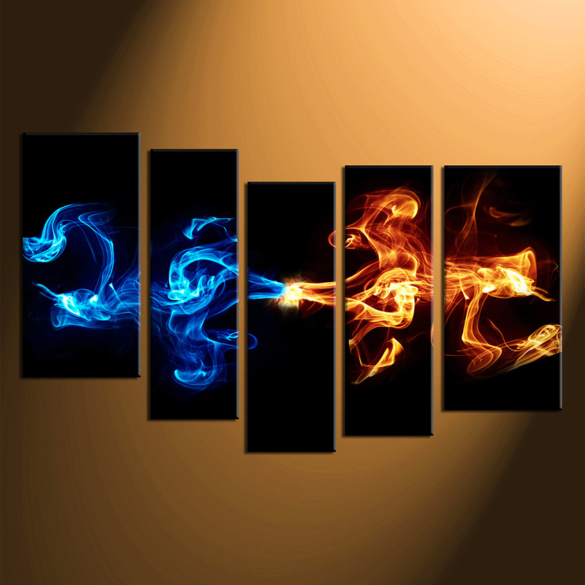 5 Piece Canvas Wall Art Abstract Blue Yellow Smoke Photo Canvas Abstract Multi Panel Art Abstract Canvas Photography Abstract Artwork
