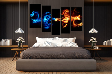 5 piece large pictures, abstract blue smoke art, bedroom multi panel art, abstract photo canvas, abstract artwork