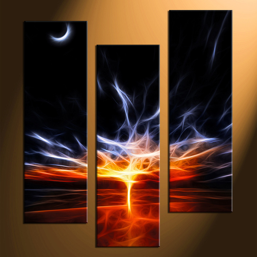 3 Piece Canvas Print Red Abstract Multi Panel Art Abstract Large Pictures Abstract Canvas Wall Art Crescent Moon Decor