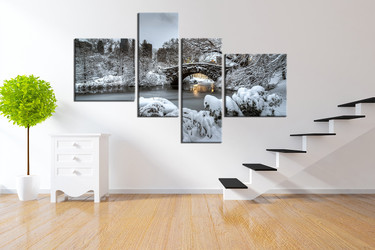 4 piece art, scenery large pictures, white snow group canvas, tree wall decor, scenery multi panel canvas