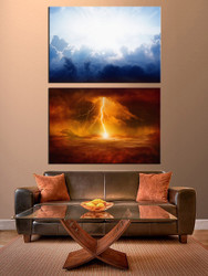 living room canvas photography, 2 piece wall art, scenery multi panel art, scenery wall art, thunderstorm huge pictures