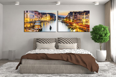 2 piece large pictures, bedroom photo canvas, city huge canvas print, gondola wall decor, panoramic canvas print
