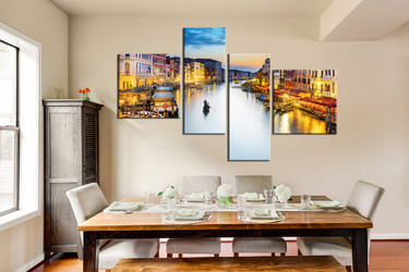 4 piece canvas wall art, dining room wall decor, city large pictures, yellow artwork, gondola multi panel canvas