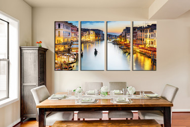 4 piece canvas photography, dining room group canvas, city light art, gondola multi panel art, yellow artwork