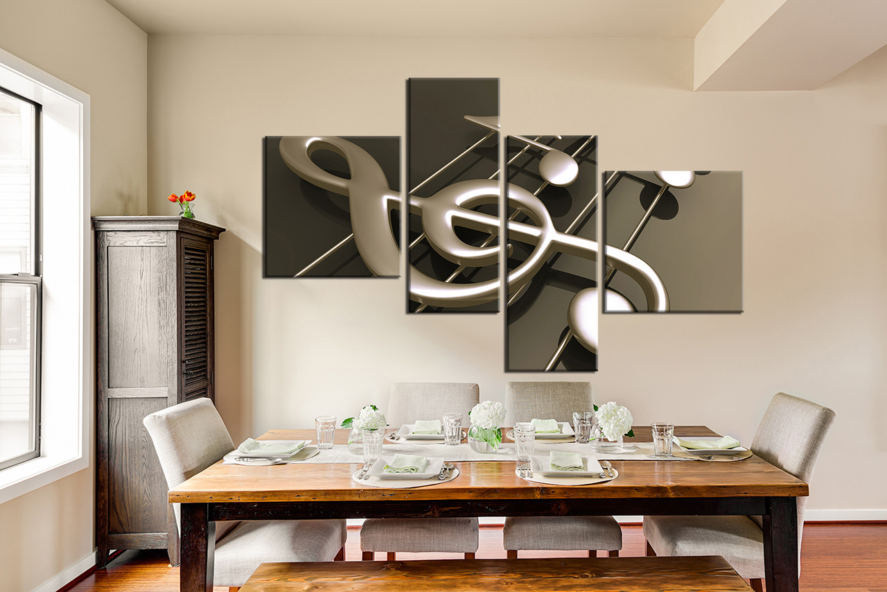 4 piece multi panel canvas dining room artwork music note canvas wall art