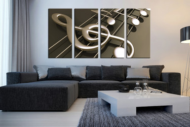 4 piece large picture, living room canvas photography, living room artwork, music notes multi panel canvas, music artwork