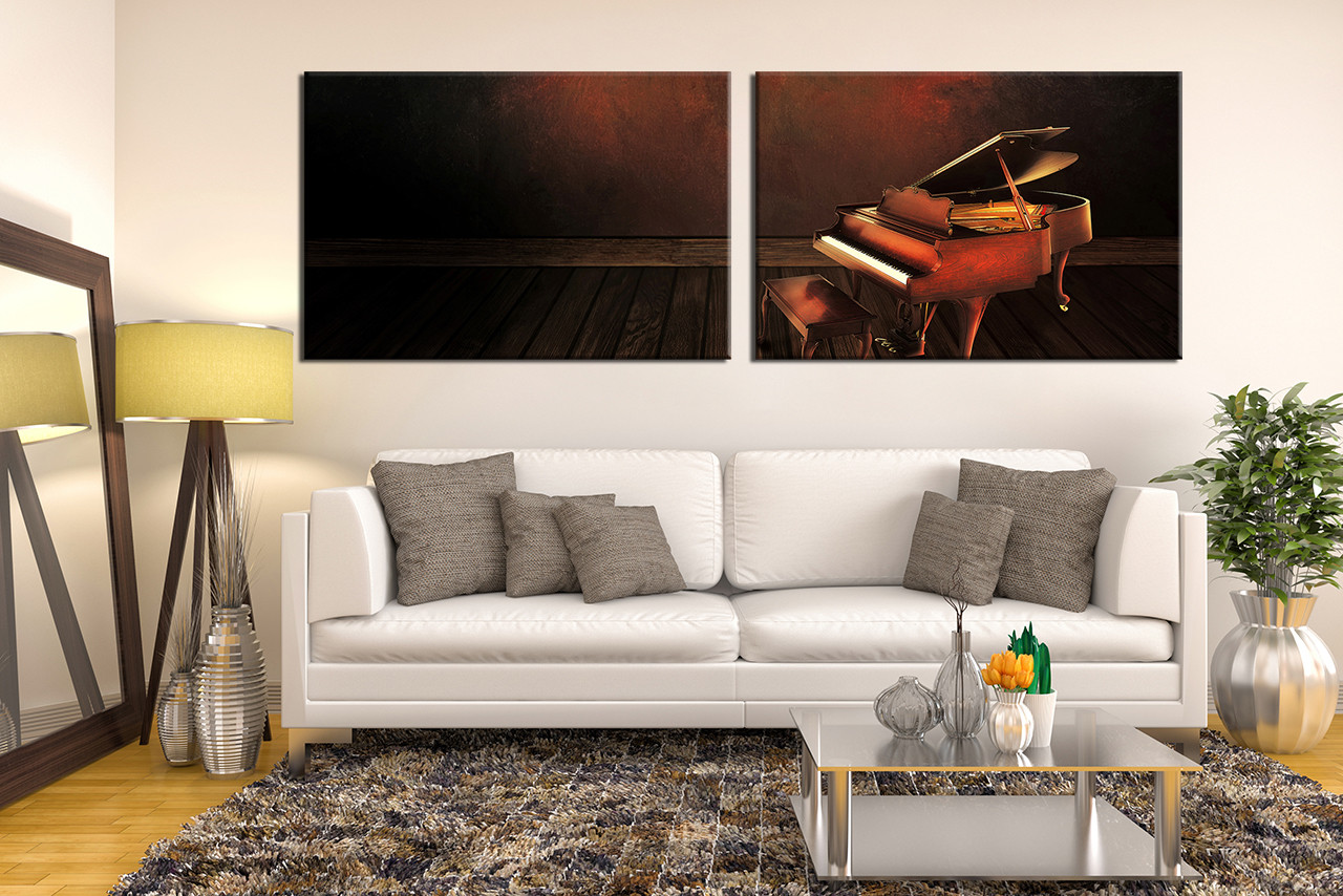 2 Piece Canvas Photography Grand Piano Wall Decor Musical Instrument Large Pictures Music Multi Panel Art Brown Grand Piano Panoramic Artwok
