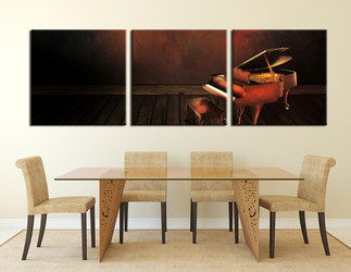 dining room art, 3 piece canvas art prints, music large pictures, piano multi panel canvas, instrument pictures