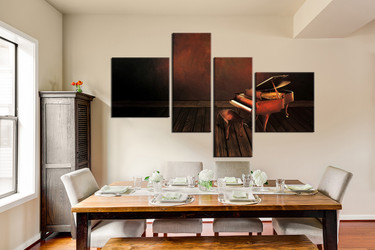 dining room art, 4 piece canvas art prints, piano canvas photography, piano canvas wall art, music large pictures
