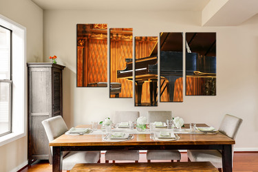 dining room art, 5 piece canvas art prints, piano huge canvas art, music huge pictures, grand piano photo canvas