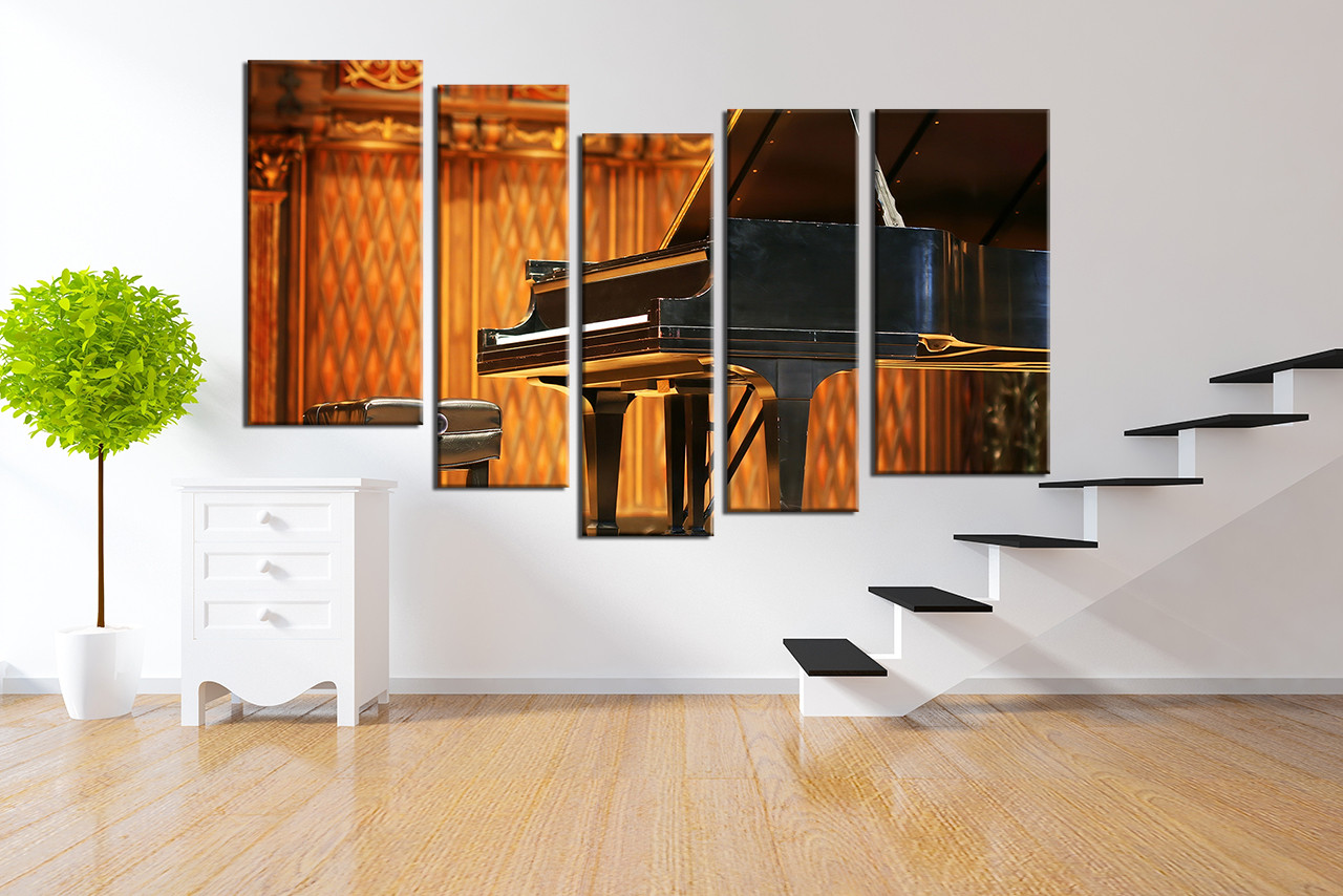 5 Piece Huge Canvas Art Music Canvas Wall Art Orange Wall Decor Grand Piano Large Pictures Music Canvas Photography Musical Instrument Wall Art
