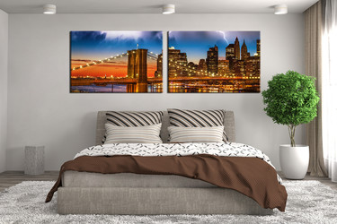 2 piece huge pictures, bedroom art, city huge canvas art, brown canvas print, panoramic wall decor