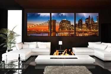 3 piece huge pictures, living room canvas print, city multi panel art, bridge artwork, panoramic wall decor