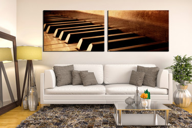 2 piece canvas wall art, music multi panel canvas, brown canvas photography, piano large pictures, living room art