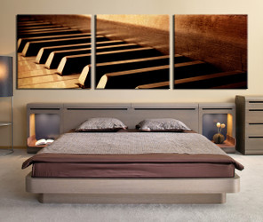 3 piece canvas prints, brown canvas print, panoramic piano canvas photography, bedroom wall art, music instrument artwork