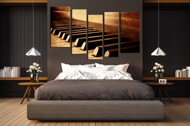 5 piece artwork, music wall art, piano photo canvas, music wall decor, bedroom huge pictures, brown group canvas