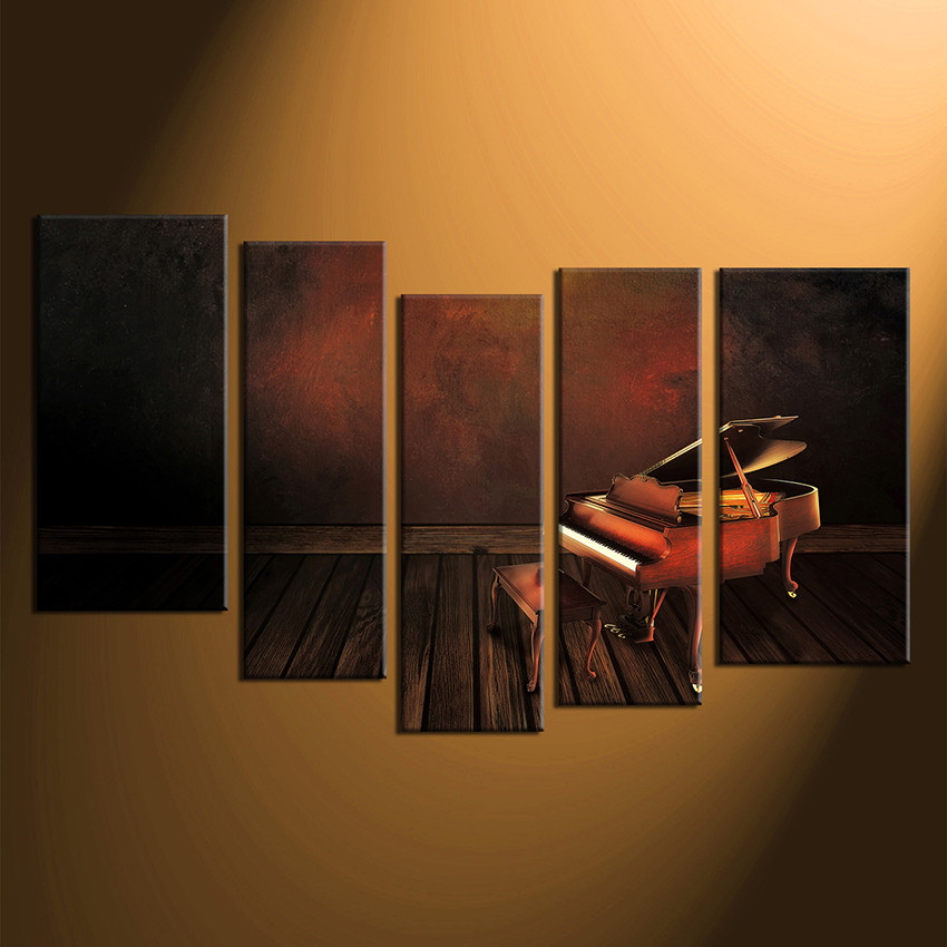 5 Piece Photo Canvas Piano Wall Art Music Multi Panel Canvas