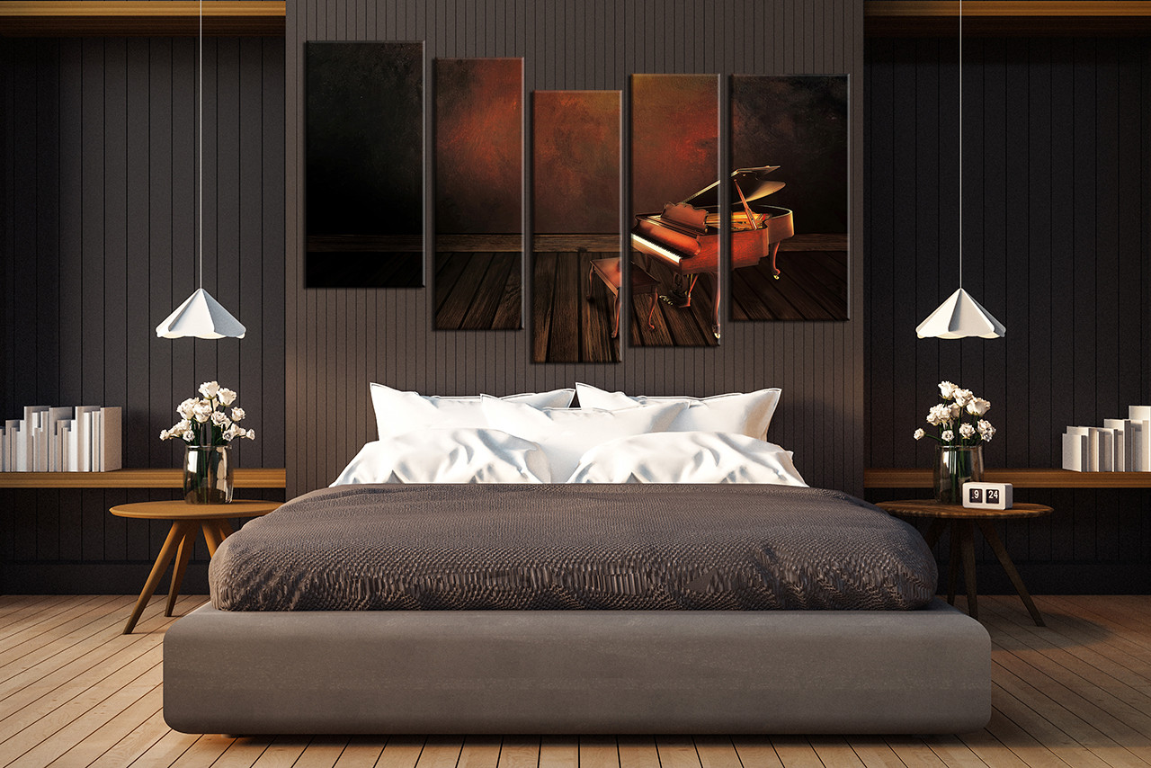 5 Piece Photo Canvas Piano Wall Art Music Multi Panel Canvas Brown Canvas Print Instrument Wall Decor Music Canvas Photography