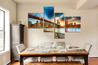 4 piece multi panel art, dining room huge canvas print, city art, brooklyn bridge canvas print, yellow group canvas
