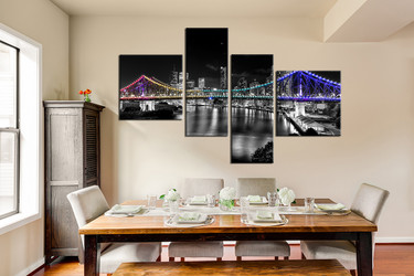 4 piece multi panel canvas, dining room group canvas, black and white city art, bridge huge canvas art, gray wall decor