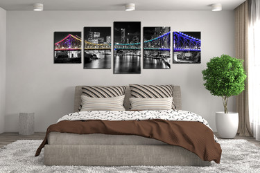 5 piece huge pictures, bedroom photo canvas, black and white art, bridge multi panel canvas, panoramic wall decor