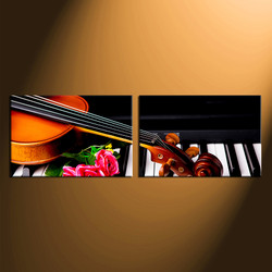 2 piece canvas wall art, home decor, violin canvas photography, floral artwork, music group canvas, music panoramic art