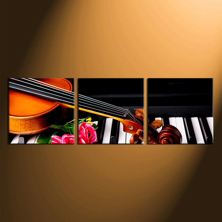 3 piece huge canvas art, panoramic wall decor, violin artwork, piano group canvas, floral canvas photography
