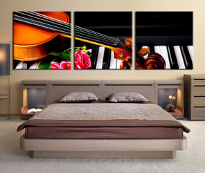 3 piece photo canvas, panoramic music large pictures, violin canvas photography, bedroom multi panel art