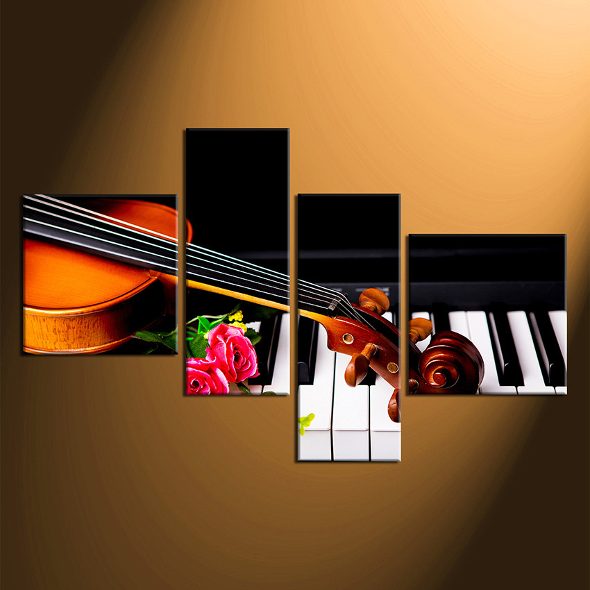 4 Piece Huge Pictures Musical Canvas Wall Art Rose Photo Canvas Instrument Wall Decor Violin Art Orange Huge Canvas Print
