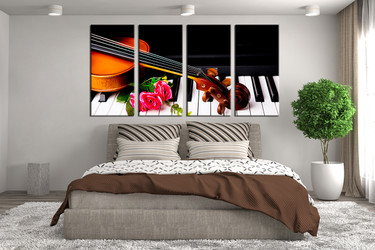 4 piece canvas print, bedroom multi panel canvas, panoramic canvas wall art, piano large pictures