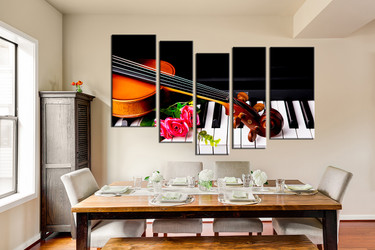 5 piece group canvas, piano canvas print, dining room large pictures, music canvas photography, violin huge pictures