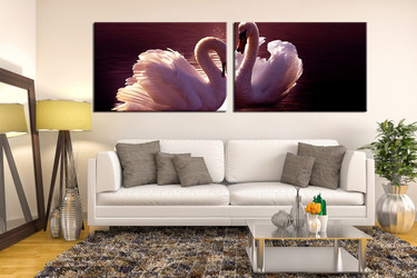 2 piece wall decor, living room canvas print, wildlife photo canvas, wildlife photo canvas, swan canvas wall art