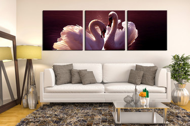 3 piece multi panel canvas, living room canvas print, swan huge pictures, wildlife group canvas