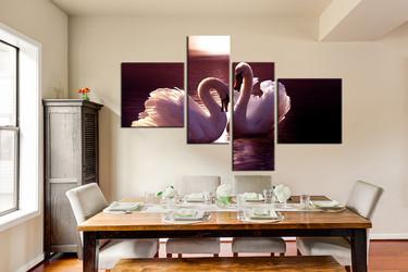 4 piece canvas print, dining room huge pictures, swan multi panel canvas, bird artwork, wildlife art