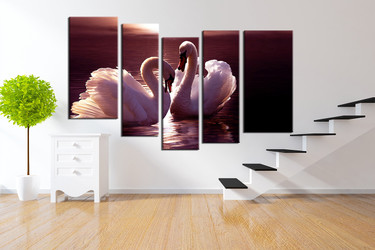 5 piece large pictures, living room canvas photography, swan huge pictures, wildlife multi panel canvas