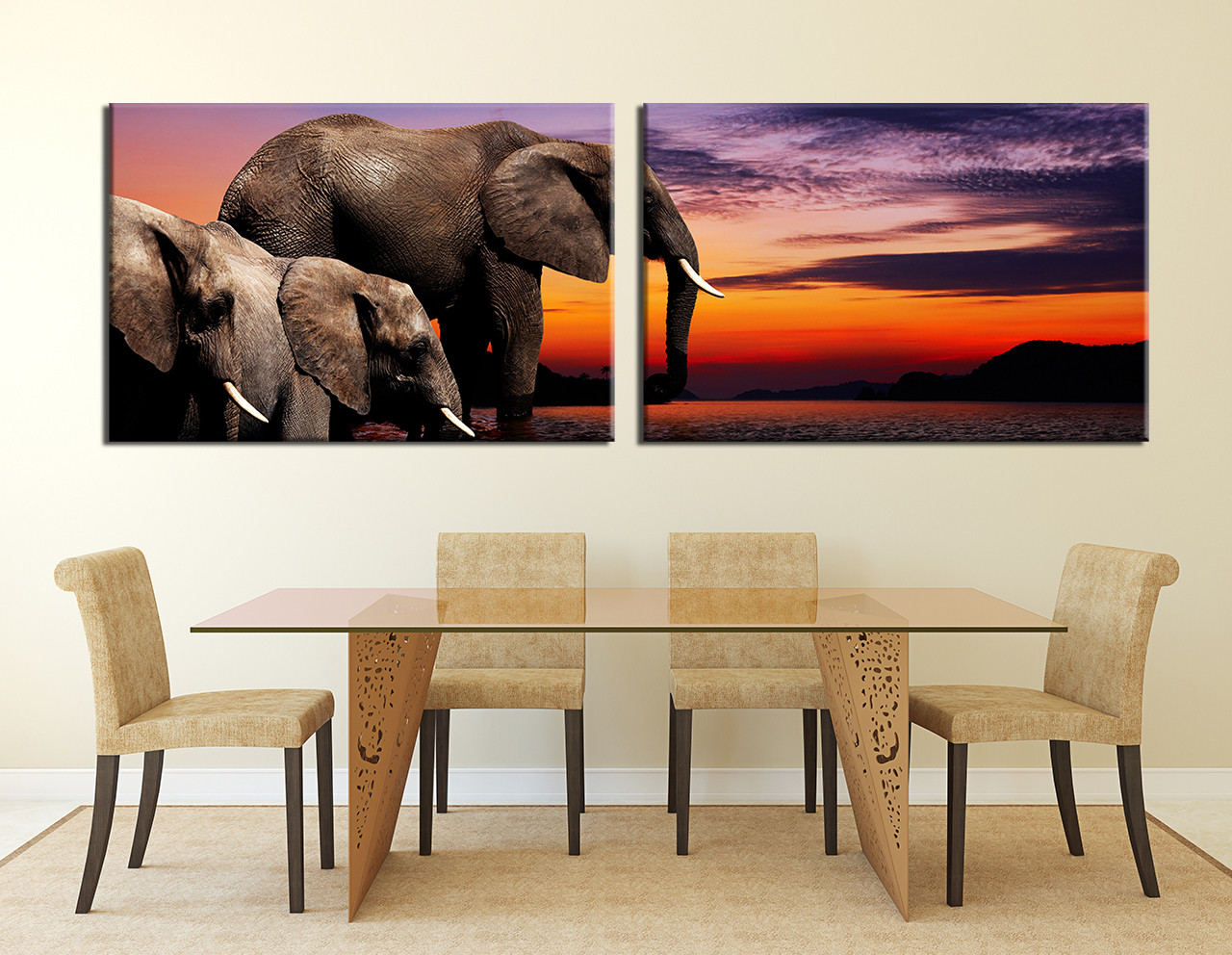 2 Piece Multi Panel Canvas Elephant Wall Art Water Large Pictures Mountain Huge Canvas Print Brown Decor Wildlife Artwork